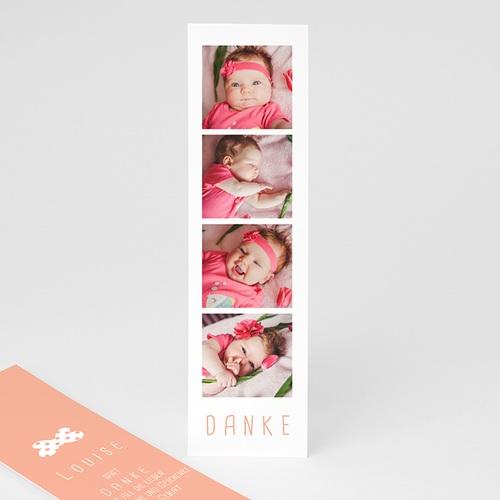 Dankeskarten Geburt Lesezeichen Sofortbildkamera, Fliege, 4 Fotos