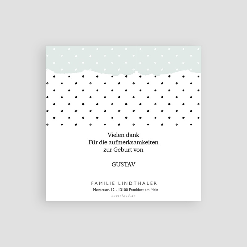 Dankeskarten Geburt Pastell-Mint, Foto pas cher