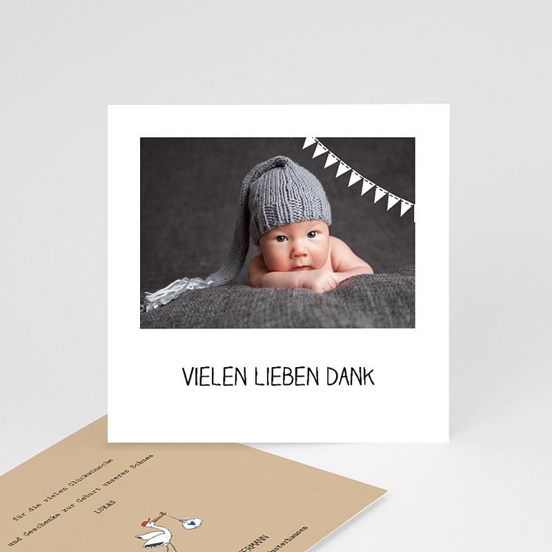 Dankeskarten Geburt Storch, Kraft & Foto