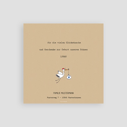 Dankeskarten Geburt Storch, Kraft & Foto pas cher
