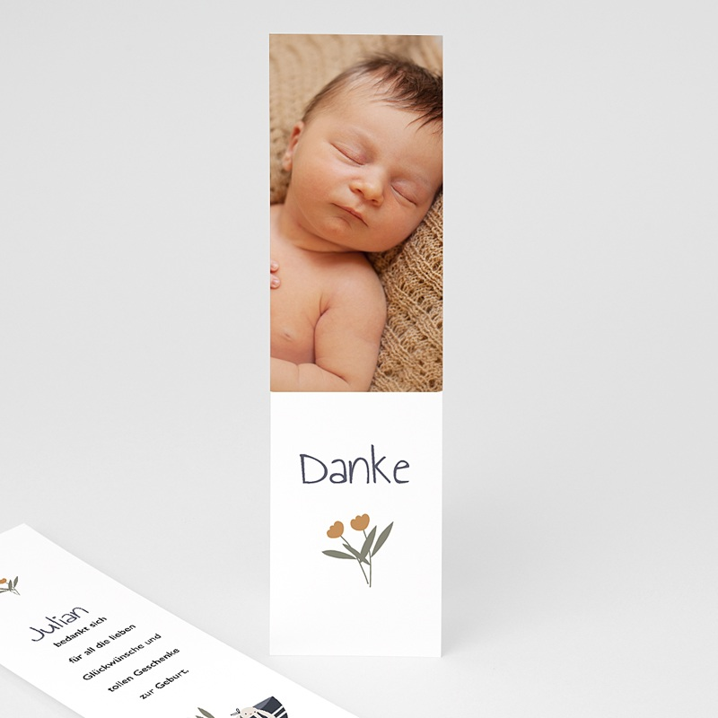 Dankeskarten Geburt Lesezeichen Glückskorb, ein Foto