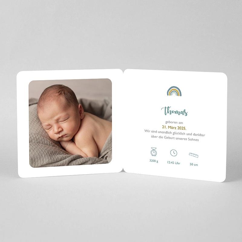 Geburtskarten für Jungen Blauer Regenbogen mit Anhänger pas cher