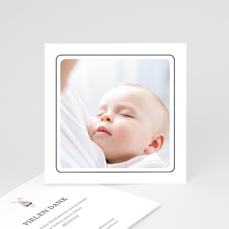 Dankeskarten Geburt mit Foto Schnullerpause, Jungen, grauer Rahmen