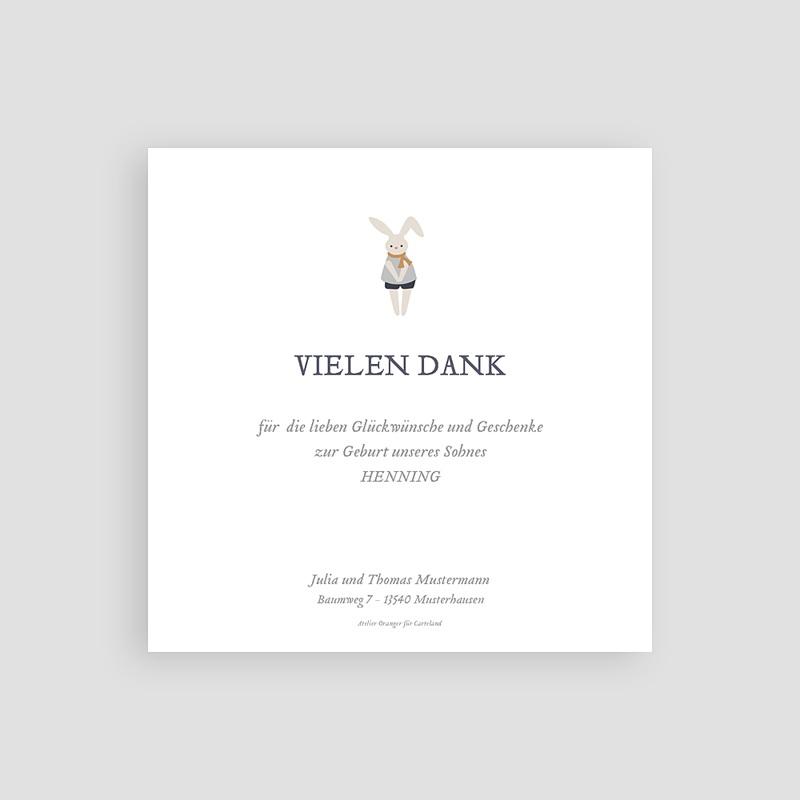 Dankeskarten Geburt mit Foto Schnullerpause, Jungen, grauer Rahmen pas cher