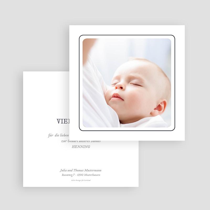 Dankeskarten Geburt mit Foto Schnullerpause, Jungen, grauer Rahmen gratuit