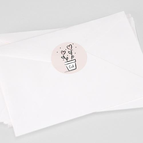 Aufkleber Hochzeit 2 Herzen, Sticker