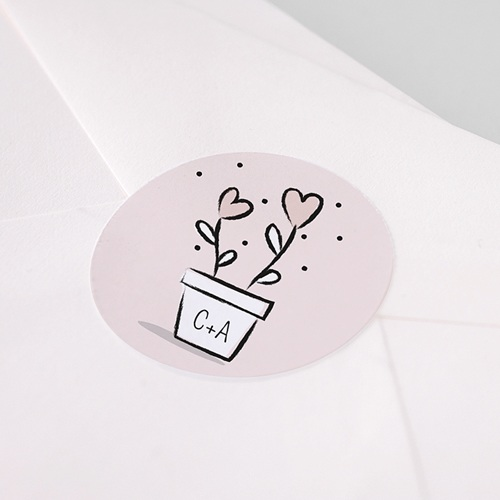 Aufkleber Hochzeit 2 Herzen, Sticker pas cher