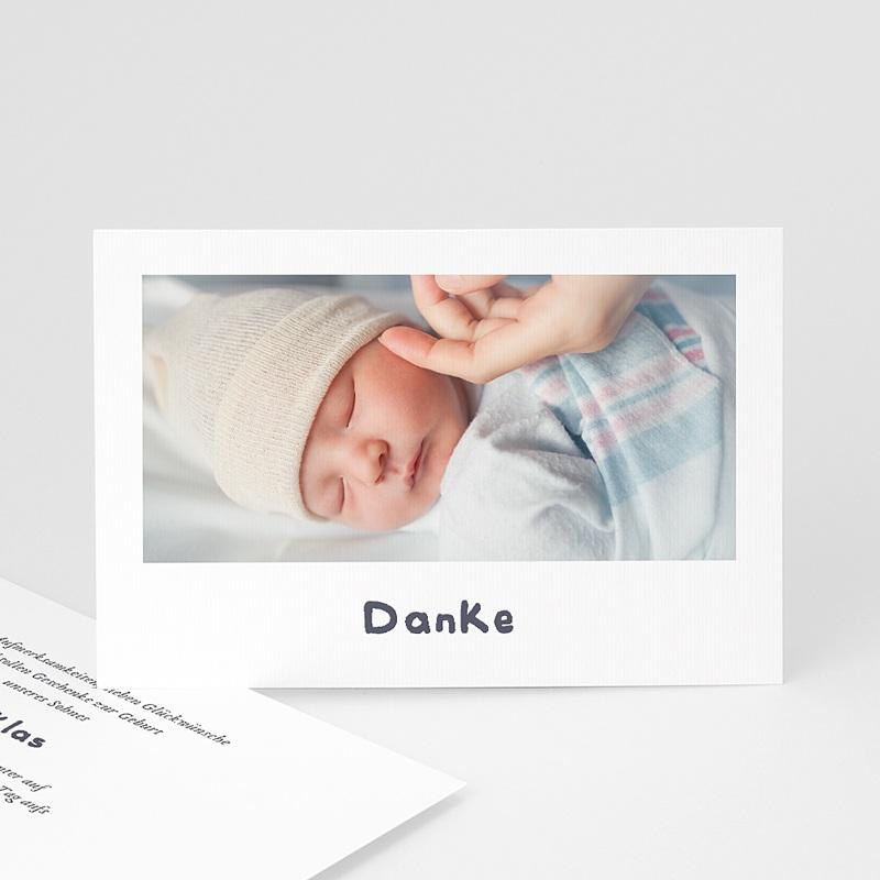 Dankeskarten Geburt für Jungen Babyschwan, blau-grau, Foto