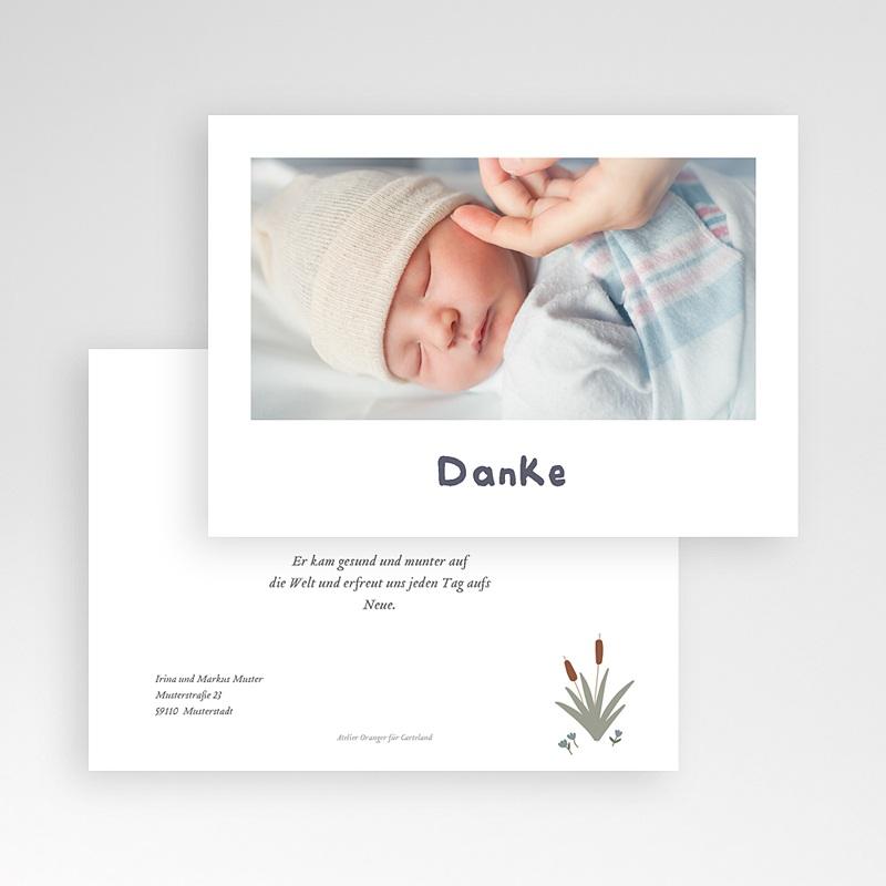 Dankeskarten Geburt für Jungen Babyschwan, blau-grau, Foto pas cher