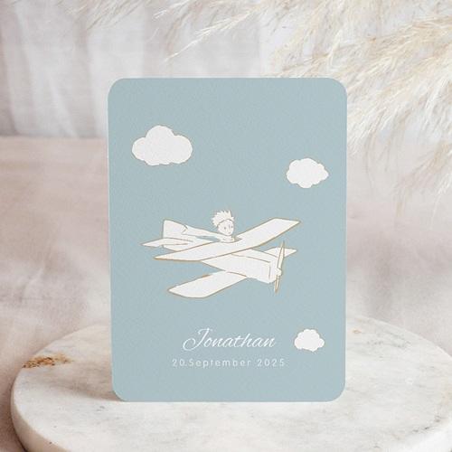 Geburtskarten Der Kleine Prinz Kleiner Prinz im Flugzeug, blau