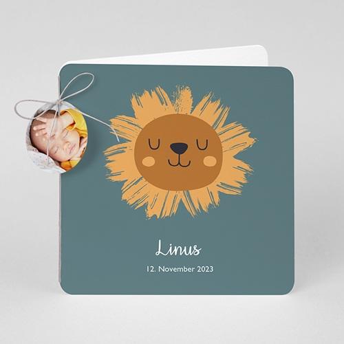 Geburtskarten mit Tieren Kleiner Löwe mit rundem Anhänger