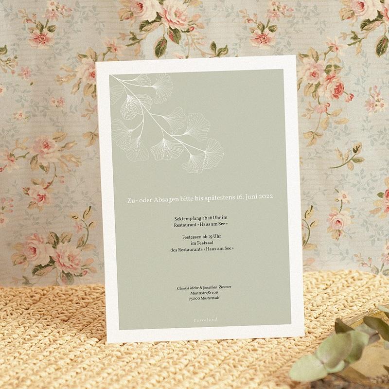 Elegante Hochzeitseinladungen Ginkgo Biloba, Goldblätter, 15 x 21 pas cher