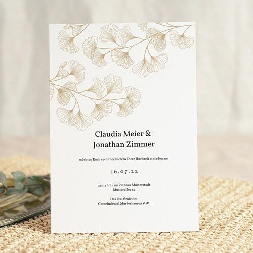 Elegante Hochzeitseinladungen Ginkgo Biloba, Goldblätter, 15 x 21 gratuit