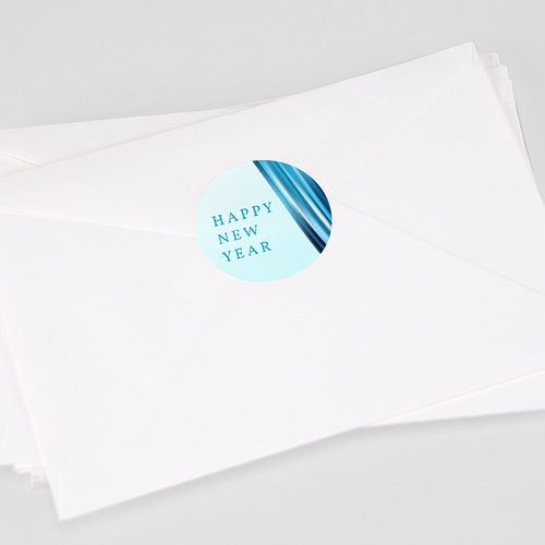 Etikett Weihnacht Blaue Welle, 4,5 cm