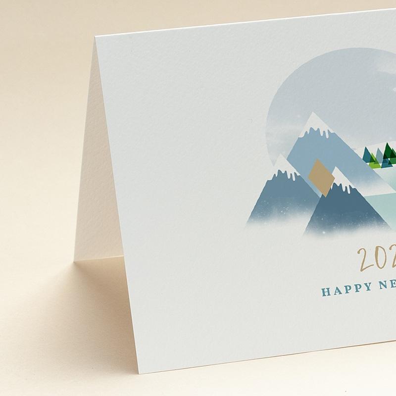 Geschäftliche Weihnachtskarten Auf dem Gipfel, Berge, Goldprägung, Brieftaschenöffnung