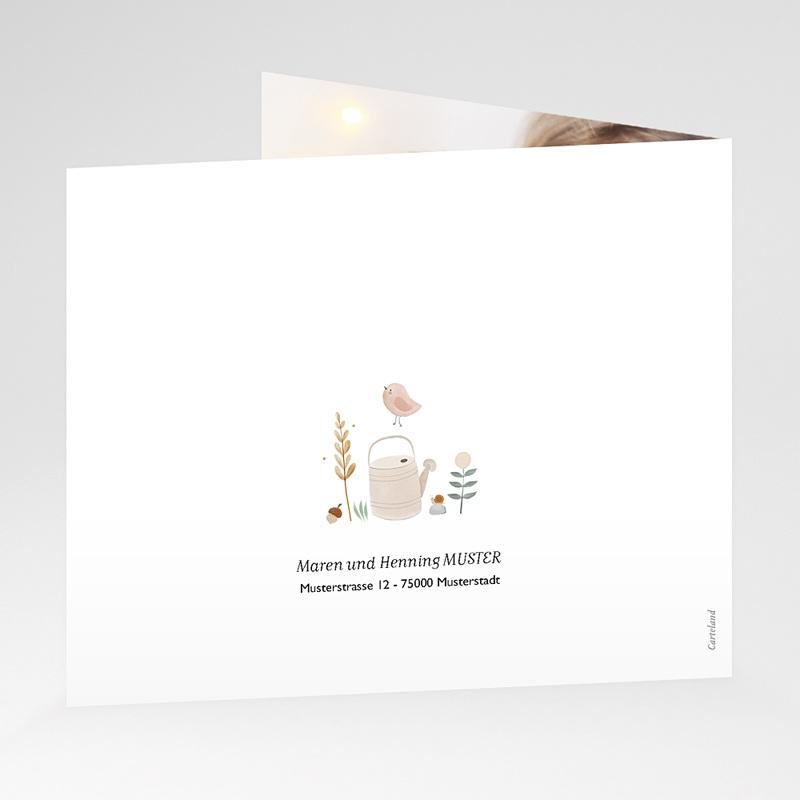 Dankeskarten Geburt für Geschwister Kleine Herfstgans, asymmetrischer Falz gratuit