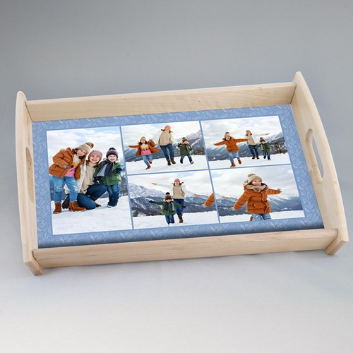 Personalisierte Foto-Tablett  Winter Frost, 5 Fotos, 33 x 20 cm