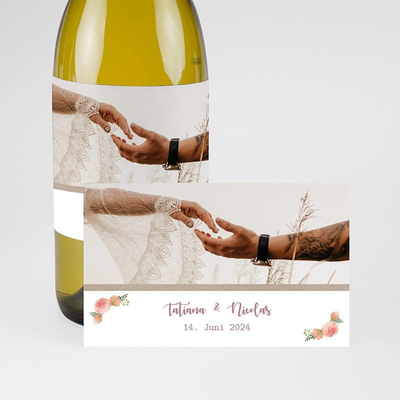 Flaschenetiketten Hochzeit Apricot & Krone, Foto, Champagner pas cher