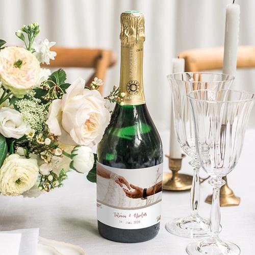 Flaschenetiketten Hochzeit Apricot & Krone, Foto, Champagner gratuit