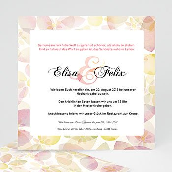 Klassische Hochzeitskarten  - Blumenhochzeit - 1