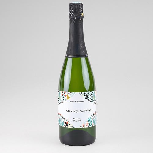Flaschenetiketten Hochzeit Wilde Blumen, Champagner, 13 x 8 cm