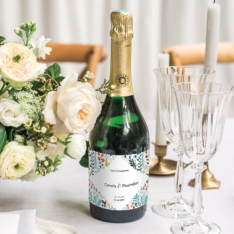 Flaschenetiketten Hochzeit Wilde Blumen, Champagner, 13 x 8 cm gratuit