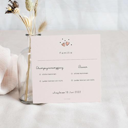 Antwortkarten Hochzeit 2 Herzen, u.A.w.g, Antwortkarte pas cher