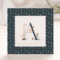 Geburtskarten für Jungen Retro-Alphabet, Natur, Dunkelblau
