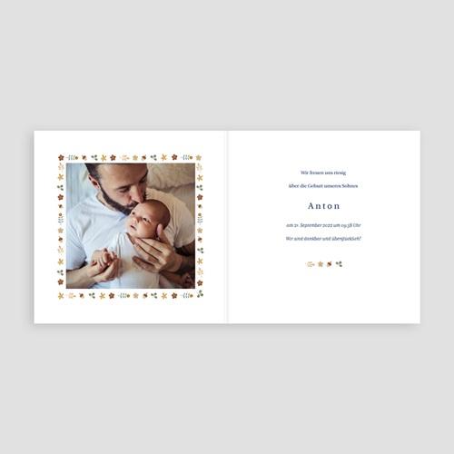 Geburtskarten für Jungen Retro-Alphabet, Natur, Dunkelblau pas cher