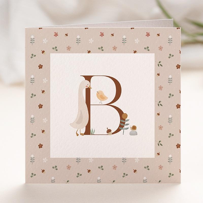 Geburtskarten für Mädchen Retro-Alphabet, Natur, Rosa beige