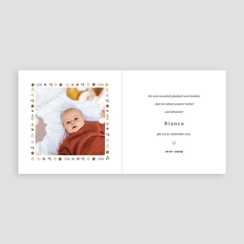 Geburtskarten für Mädchen Retro-Alphabet, Natur, Rosa beige pas cher