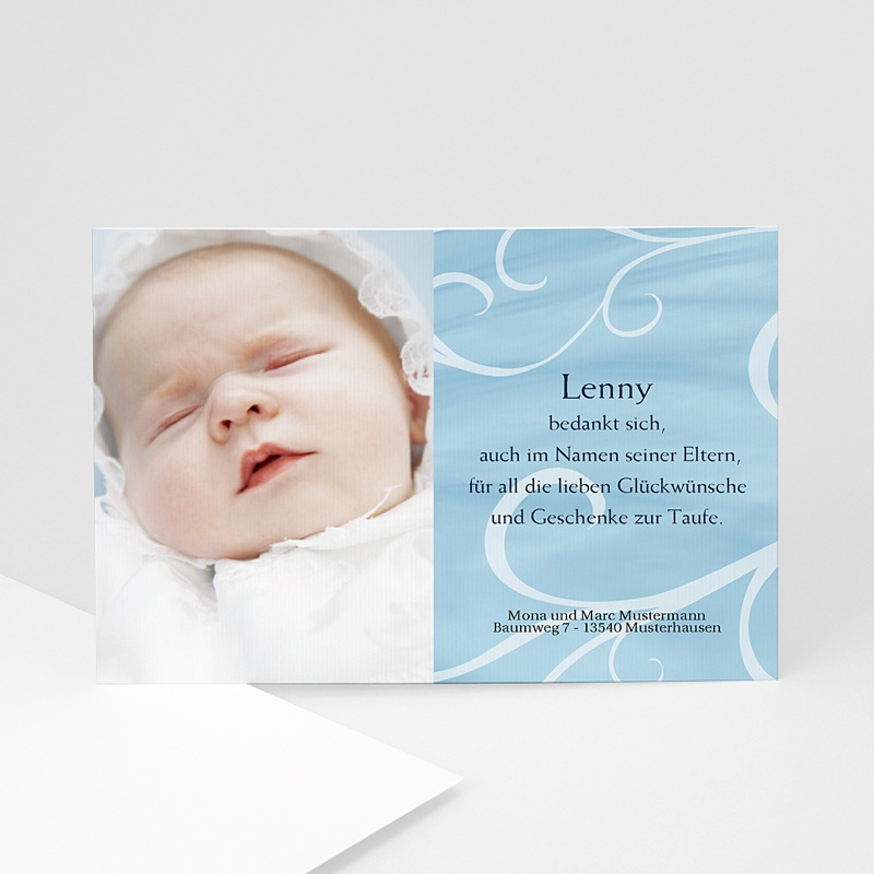 Dankeskarten Taufe Jungen In Blau