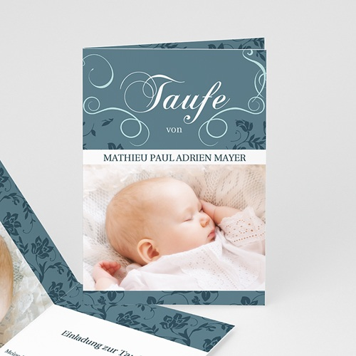 Einladungskarten Taufe Mädchen - Taufkarte Aqua 9119