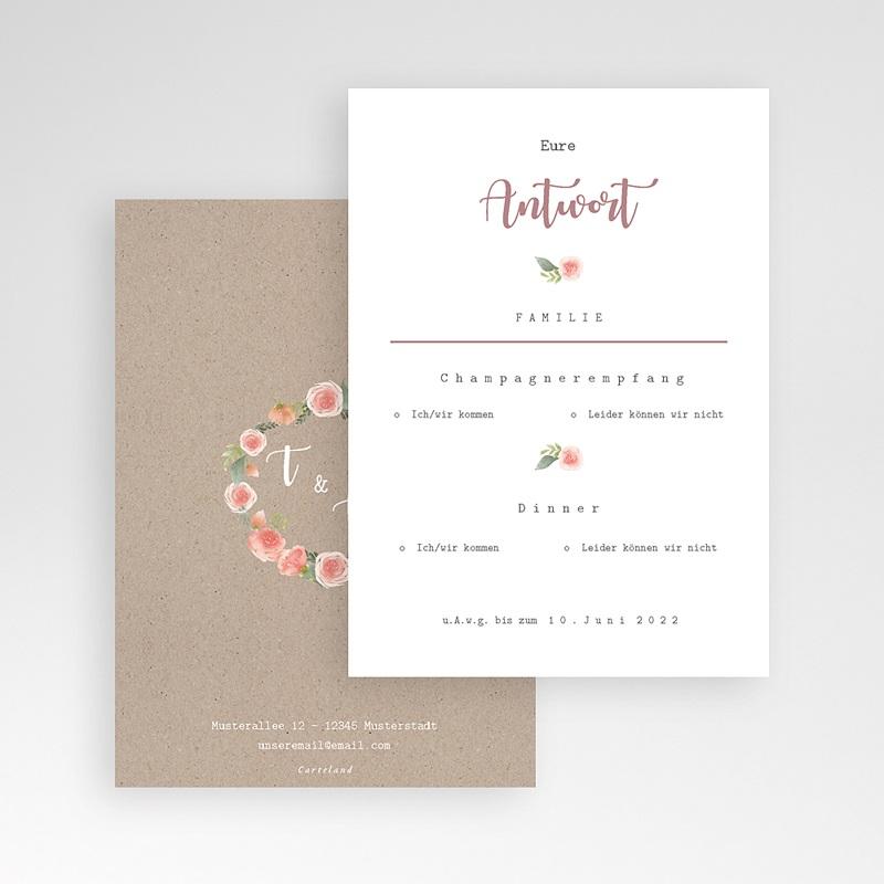 Antwortkarten Hochzeit Apricot & Krone, Antwort pas cher