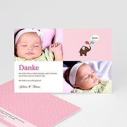 Dankeskarten Geburt Mädchen - Kleiner Elefant - 1