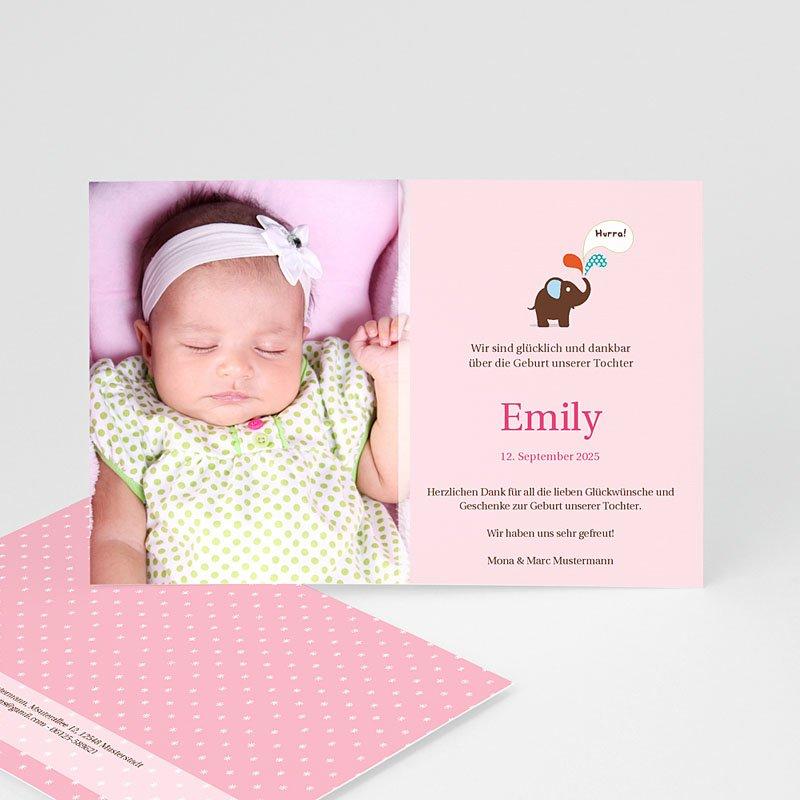 Geburtskarten mit Elefant Emily