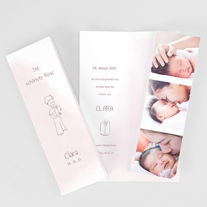 Geburtskarten Kleiner Prinz und Rose, 3 Fotos