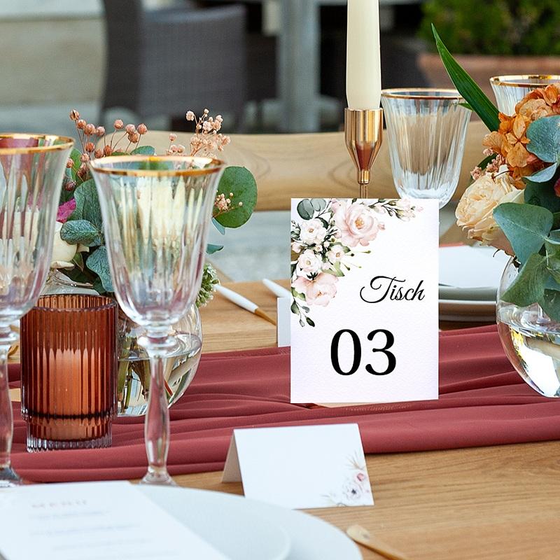 Tischnummer Hochzeit Romantisch Kraft & Blumen, Drierpack pas cher