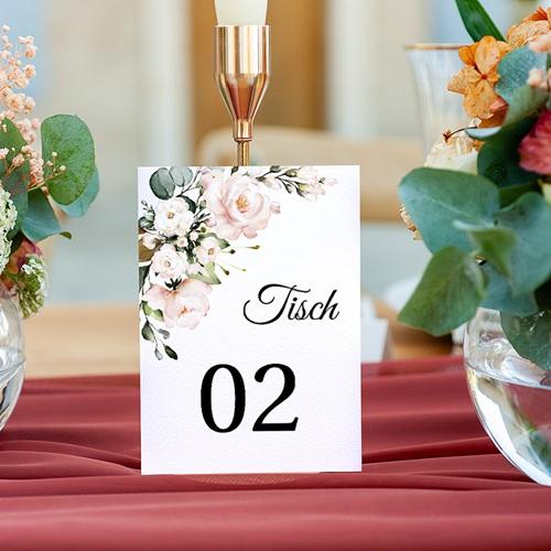Tischnummer Hochzeit Romantisch Kraft & Blumen, Drierpack gratuit