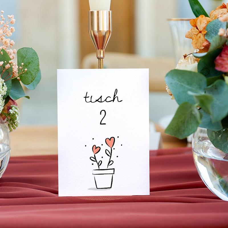 Tischnummer Hochzeit 2 Herzen, Dreierpack gratuit