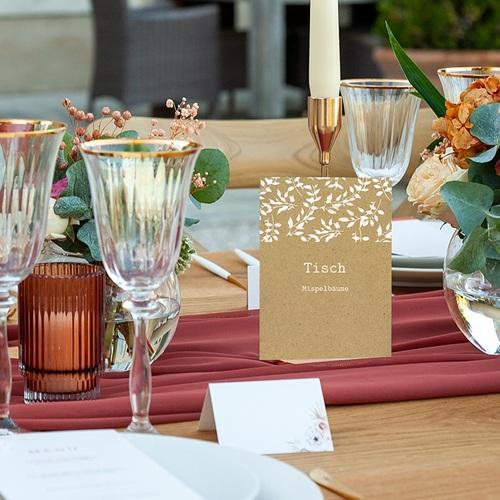 Tischnummer Hochzeit Natur White Kraft, Dreierpack pas cher