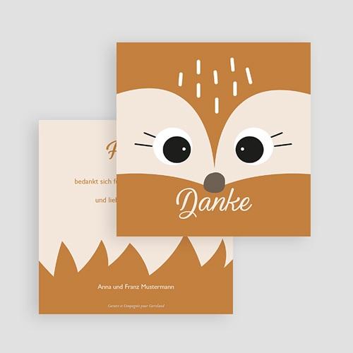 Dankeskarten Geburt mit Tieren Fuchs und Co., Format 10 x 10 cm gratuit