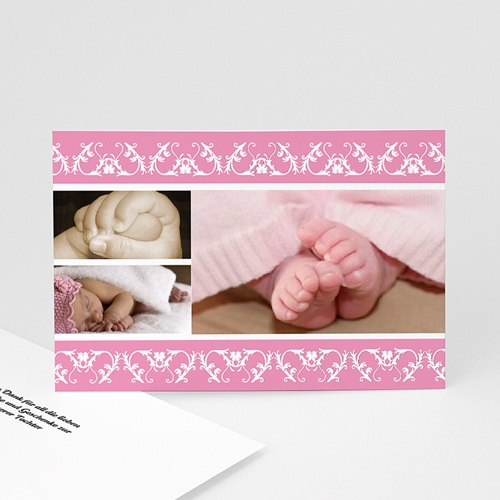 Dankeskarten Geburt Mädchen - Dankeskarte geometrische Verzierung 9211