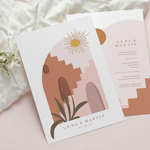 Reisen Hochzeitseinladungen Sonne der Medina, Gewürzfarben, Goldprägung pas cher