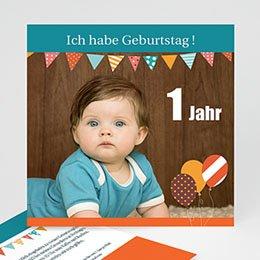 Einlegekarte Kindergeburtstag Wimpel