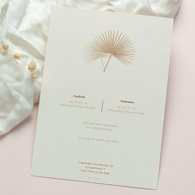 Boho Hochzeitseinladungen Palmengravur, Böhmisch exotisch gratuit