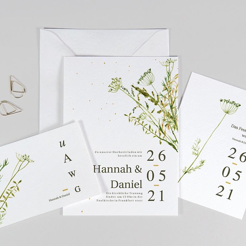 Rustikale Hochzeitseinladungen Möhrenblüten, ländliches Thema, Goldstreifen
