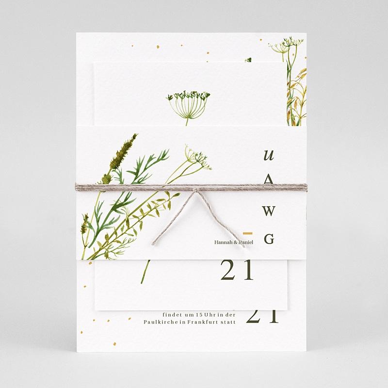 Rustikale Hochzeitseinladungen Möhrenblüten, ländliches Thema, Goldstreifen pas cher