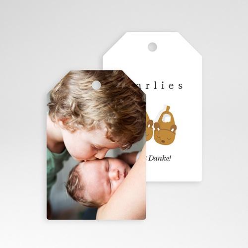 Geschenkanhänger Geburt Babypantoffeln Mädchen & Foto, Geschenk pas cher