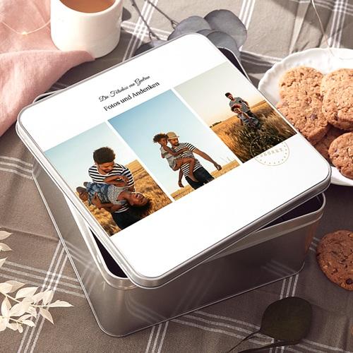 Personalisierte Fotodose Urlaubsandenken, Deckel mit eigenem Bild, 20,2 x 20,2 cm
